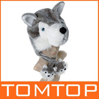 Wholesale Cartoon Soft Warm Fluffy Plush Hat Cute wolf animal cap warm winter hats with Earmuff Scarf H3105