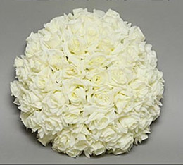 Wholesale Artificial roses flower ball ivory cream party wedding hanging decoration flower ball