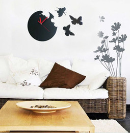 Wholesale new arrival Creative Butterfly Silent Resin Wall Clock with butterflies inch AA