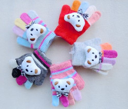 Wholesale Cartoon Bear Design With Bow Tie Multicolor Finger Gloves Children s Gloves amp Mittens For T T