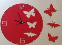 Wholesale Creative products advertising gift craft clock yakeli mute circular red black color butterfly clock