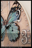 Wholesale New wooden coloured drawing or pattern super mute wall clock big butterfly wall clock