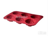 Wholesale Flower rose Silicone Rose shape cake pan cups Muffin Cupcake Pan jelly Chocolate mold