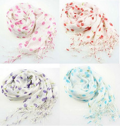 Wholesale idealway New Fashion Style Hot Sell Ladies Chiffon Edging Pretty Cherry Scarves colors mix