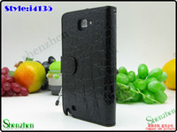 Wholesale For Samsung Galaxy Note i9220 Crocodile skin leather case with Wallet iGDS i4135