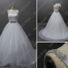 2016 One Shoulder Designer Wedding Dresses Beaded Puffy Tulle Ball Gown Annika Actual Real Images Bridal Gowns