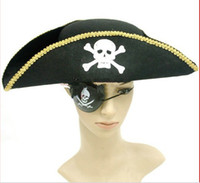 Wide Brim Hat Black Plain Dyed Halloween Hats Caps Pirate Eyeshade Party Property Hot Sales 12pcs Lot Free Shipping A5