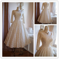 Wholesale Vintage s Poland Style Scoop Neck Long Sleeves Tea Length Lace Ivory Wedding Dresses Wedding Gowns
