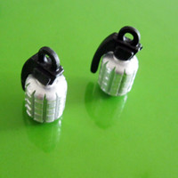 Wholesale Metal Grenade Design Car Motorcycle Bike Tire Tyre Valve Dust Caps Silver