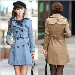 Wholesale New Arrival Women s fashion double breasted trench coat Free Dot Scarf