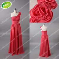 plus size prom dresses - Hot Chiffon Floral Plus Size Prom Dresses Sheath One shoulder Real Image Evening Bridesmaid Gowns