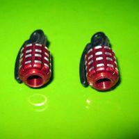 Wholesale Metal Grenade Design Car Motorcycle Bike Tire Tyre Valve Dust Caps Red