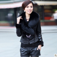 Wholesale New arrival fashion women s genuine lamb sheep leather coat jacket fox collar mink fur