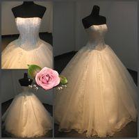 Robes de mariée de mariage personnalisé 2015 Real Pictures Strapless strass Crystal perlé Corset Lace-up Retour organza robe de bal de luxe de luxe