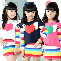Wholesale Rainbow Striped Baby Girls Outfit Smocked Shirt Tunic amp Full Long Rainbow Dress piece set T T