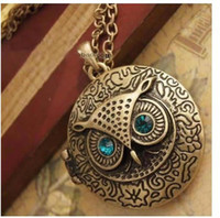 Wholesale Newest Round Box Vintage Owl Necklace Retro Necklace