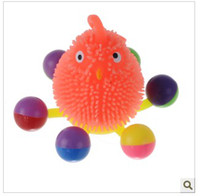 Wholesale 10pcs Lay the chicken elastic luminous ball Colorful luminous toy