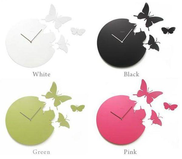 orologio da muro con farfalle