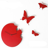 Wholesale 10pcs butterfly artistic wall clock round butterfly wall clock Wall decor wall clock