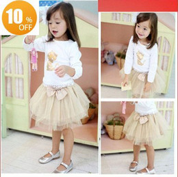 Wholesale Autumn girls suits golden cat long sleeveT shirt bow veil skirt set Children s suits SEPT68