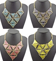 Wholesale Vintage Style Geometry Triangle Celebrity Inspired Urban Diva Statement Bib Necklace