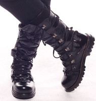 Wholesale Men s Shoes Knee High Boots Cool Metal Rivets Lace Up Buckles Fire Leather Casual Outdoor Boots