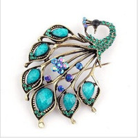 Wholesale Vintage Antique Animals Brooch Pins Cheap Peacock Safety Pin Brooch Fashion Jewelry Accessories lx5