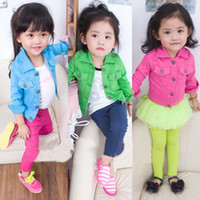 Wholesale Girls Tooling Wind Washed Locomotive Jacket Motorcycle Kids Spring Autumn Children s Coat Candy