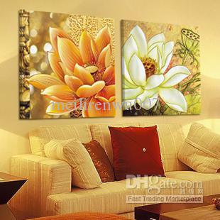 2017 Handicraft Abstract Feng Shui Painting Lotus