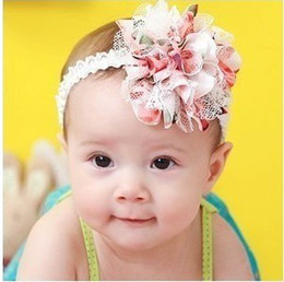 Wholesale TOP BABY Flower Headband Baby Hairband Kids Flower Hair Accessories Children Flower Elastic Headband