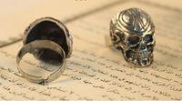 Wholesale 20pcs Halloween Gift Skeleton Skull Head Unisex Band Ring Resizable Ladies Men Antique Silver Ring