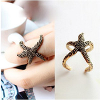 Wholesale Fashion Rings Vintage Lovely Starfish Open Punk Rings Women Jewelry J261