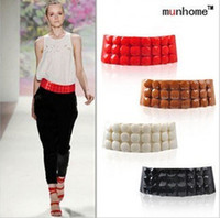 Wholesale wide fashion stone beaded runway fashion elastic belt waistband