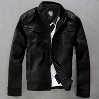 Wholesale Hot selling Autumn Men s leather jacket snug temperament Men s Casual motorcycle jacket black