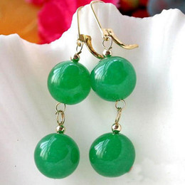 New Arrive Christmas gift jewelry Huge 14MM Natural Round Green Jade Bead Dangle Earring 14K-20 Gold