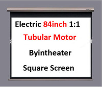Wholesale Tubulr Motor Matte White Clear Electric Projection Projector Square Screen inch Remote Control