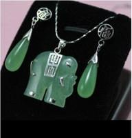 Asian & East Indian Women's Sterling Silver Women, bridal jewelry green jade elephant silver pendat necklace earring set
