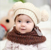 2-4 Years baby brown rice - Baby knitted hats double ball children s caps kids hats beanie crochet Toddlers hats Rice white