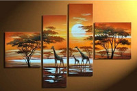Wholesale OIL PAINTING CANVAS handcraft art landscape giraffe WALL DECOR decorate ART