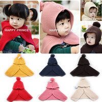 Wholesale Solid Children Cloak Baby Boys Girls Wraps Kid Scarf with Cap Children Accessories Colors