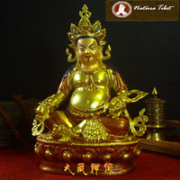 Wholesale M Tibetan Buddhist Yellow Jambhala Brass Gold plated Buddha Statue CM Metal Sculpture Figurine