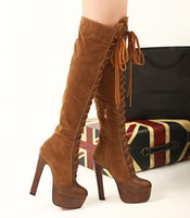 Wholesale 2012 New High Platform Lace Up Over Knee Thigh Long Winter Boots Colors Size to