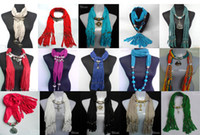 Wholesale MIXED design pendant scarves womens fashion neckcace shawl ployester scarf mixed colors