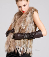 Wholesale Woman Knitted Rabbit Fur Vest Raccoon Fur Collar Giletwaist warm coat coffee black