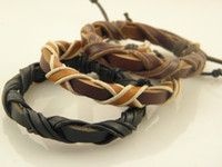 Wholesale The Newest Cool Mens Handamde Leather Wrap Bracelets Leather Jewelry