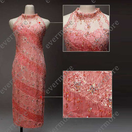 Wholesale Cheongsam Style High Collar Lace One side Split Overall Sequins amp Beads Vintage Wedding Bridal dresses