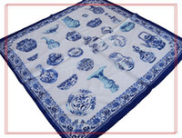 Wholesale Hand Painted Silk Scarves For Women Square Chinese Ethnic Designs mix color Free