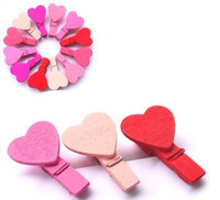 Wholesale Wood clip MINI heart shaped Wooden clip small clamps color
