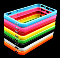 Wholesale 250pcs New TPU Bumper Solid Color With Chrome Metal Buttons in Retail Package for iPhone G