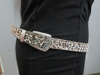 Wholesale rhinestones Buckle Waist leopard leather belt colors mixed doz color choose from colors